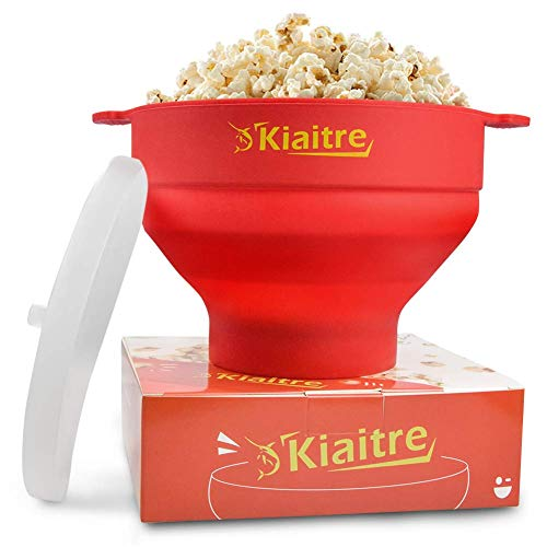 Kiaitre Microwave Popcorn Popper - Silicone Popcorn Popper, Collapsible Popcorn Popper with Lid, Handles and Dishwasher Safe, Popcorn Maker Bowl for Home and Party.
