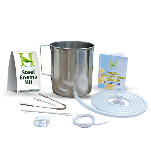 HealthGoodsIn - High Grade Stainless Steel Enema Kit (2 Quart) with Platinum Cured Medical Grade Silicone Hose |