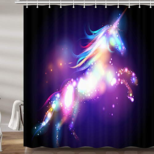 JAWO Colorful Unicorn Shower Curtain for Bathroom, Fantasy Animal Bright Spots on Black Background Polyester Fabric Bath Curtains with Hooks 69X70 Inches