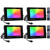 4-Pack Onforu 20W RGB Color Changing DIY LED Flood Light with Remote