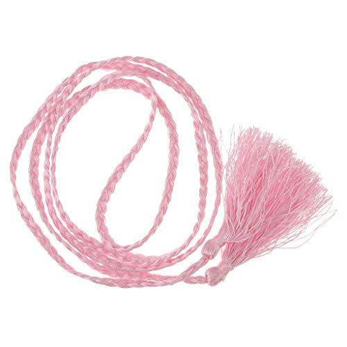 joyMerit Boho Women Simple Tassel Geflochtener Self Tie Belt Dünne Taille Haarseil Haarband - Rosa