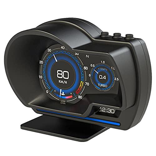 Pantalla Frontal para Automóvil OBD2 + GPS Pantalla HUD para Automóvil Odómetro Alarma De Seguridad Temperatura De Agua Y Aceite RPM para Vehículos Negro