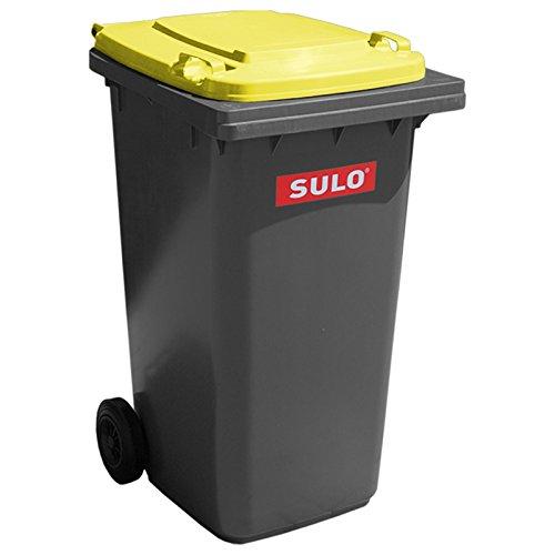SULO Mülltonne Müllbehälter 2 Rad MGB ***80 Liter grau mit gelbem Deckel***