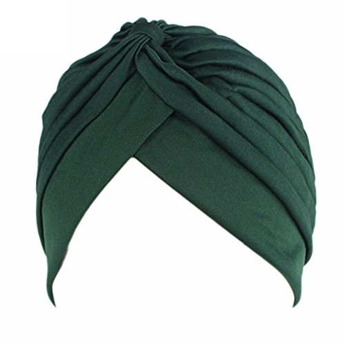 QHGstore femminile Chemo pieghe Pre Legato capo Cover Up Knit Bonnet Sun Turbante Cap verde scuro