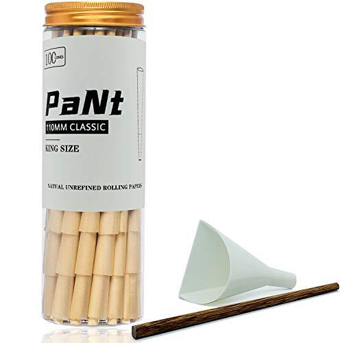 PaNt | 100 Pcs | 110 mm Conos pre enrollados de King Size | Papeles de liar Natural Cones con puntas y cargador de embudo y varilla para empujar