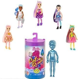 Barbie Color Reveal Mini-Poupée Chelsea avec 6 éléments Mystère, Série Monochrome, 4 Sachets Surprise, Modèle Aléatoire, J...