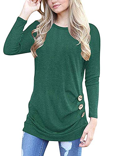 MOLERANI Women's Casual Long Sleeve Round Neck Loose Tunic T Shirt Blouse Tops Green XL