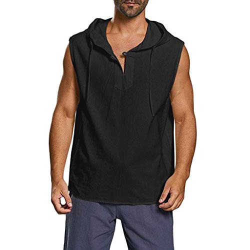 Price comparison product image Mens Sleeveless Hoodie Linen Shirt Summer Beach Casual Hip Hop Solid Button Hooded Tank Top Henley Shirt Black