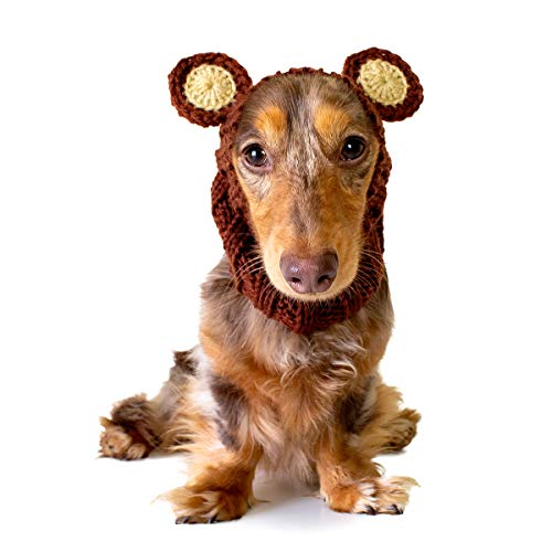 Zoo Snoods Grizzly Bear Dog Costume – Neck and Ear Warmer Hood for Pets (Small)