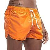 JURTEE Hombre Pantalones Cortos de Playa Secado Rápido Bañador Estampado Beach Shorts Sólido de Color Surf Cintura Elástica Deportivos Corriendo Trajes de Baño(Naranja,M)
