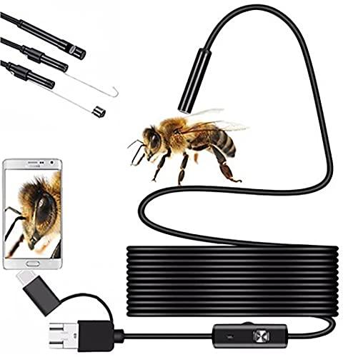 Retoo Cámara endoscópica HD impermeable con IP67 y 6 LED, endoscopio móvil con micro USB y tipo C, cámara tubular con cable semirígido, cámara de inspección con gancho, imán y espejo para Android, iOS