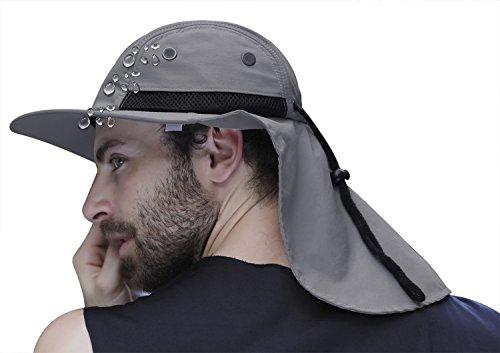 Cappello da sole da uomo, estivo, con visiera da uomo, protezione per la nuca, cappello anti UV, da uomo, con ampio bordo, per pesca, escursionismo, giardino, campeggio, caccia, ciclismo