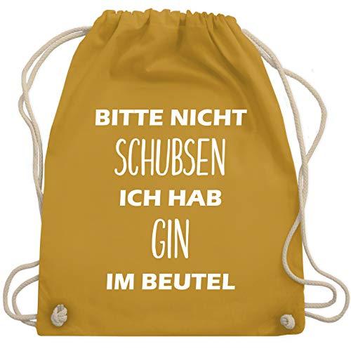 Shirtracer Festival Turnbeutel - Bitte nicht schubsen ich hab Gin im Beutel - Unisize - Senfgelb - gin - WM110 - Turnbeutel und Stoffbeutel aus Baumwolle