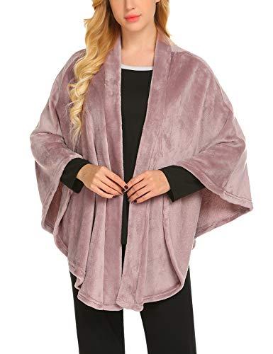 MAXMODA Damen Winter Poncho Vintage Elegant Warm Fleece Überwurf Umhang Schal Wrap