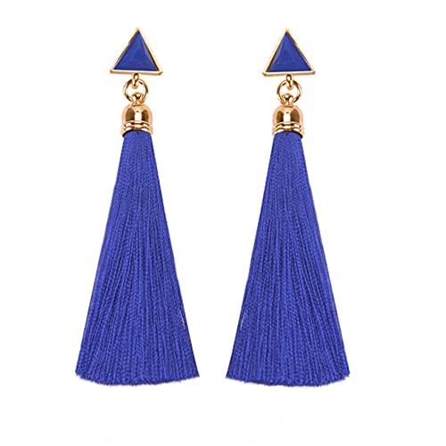 SMEJS Pendientes largos con borlas y borlas para mujeres y niñas Pendientes con dijes para mujeres Pendientes de botón para mujeres Regalo de cumpleaños para mujeres, Azul