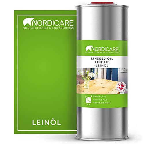 Nordicare [1L] Leinöl für Holz zum Holzschutz I Leinöl Firnis Holzöl für Innen I Leinöl für Möbel Holz Öl, Leinenöl Holz
