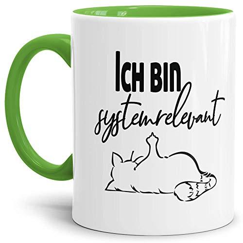 Tasse mit Spruch - Systemrelevant - Katze - Kaffee-Tasse/Arbeit/Job/Lustig/Erinnerung Krise Virus 2020 - Innen & Henkel Hellgrün