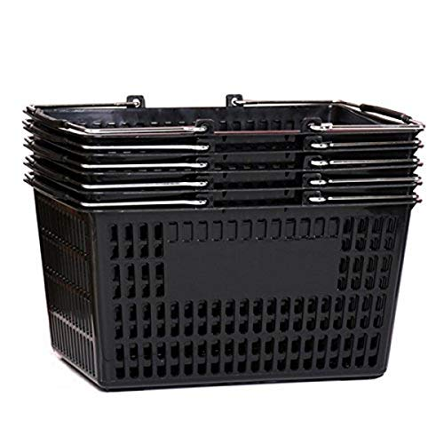 Shopping Basket (Set of 5) Durable Black Plastic with Metal Handles