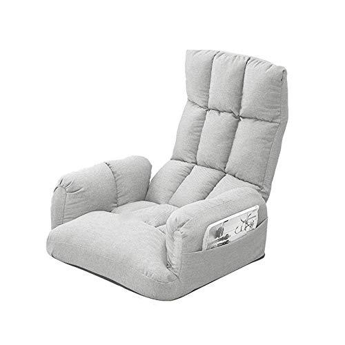 Sillón de Suelo Lazy Lounge Sofa con Bolsa de Almacenamiento Lateral Plegable con reposabrazos Sillón de Suelo de meditación Sillón de salón extraíble y Lavable Crema-Blanco