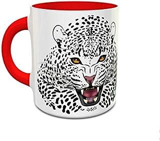 IMPRESS White and Red Ceramic Coffee Mug with Cheeta Design