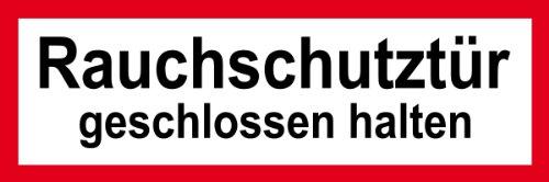 Feuerwehrschild - Rauchschutztür geschlossen halten - Selbstklebende Folie - 10 x 30 cm