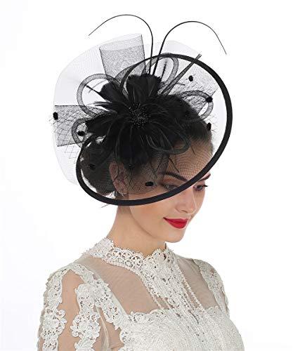 Lucky Leaf - Tocado y horquilla para el pelo, con plumas y diadema para mujer, para fiestas, bodas,...