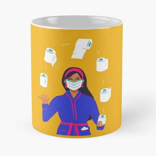 Toilet Roll - Stay At Home Quarantine Covid-19 Coronavirus Pandemic Art Classic Mug 11 Ounce For Coffee, Tea, Cocoa And Mulled Drinks, The Best Gift Holidays Aguda