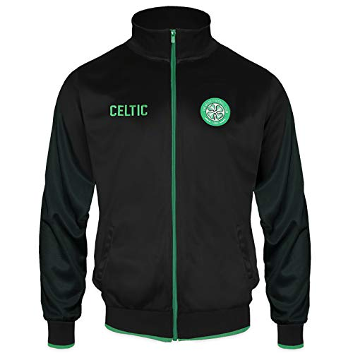 Celtic FC Official Soccer Gift Mens Retro Track Top Jacket Black XL