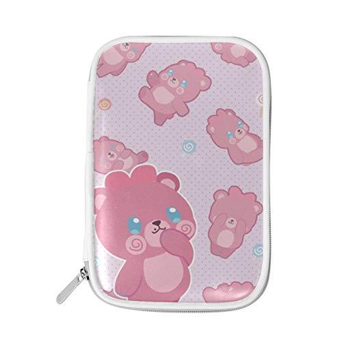 Astuccio per matite, borsa per matite di grande capacità Custodia per cancelleria Organizer da scrivania per ragazzi Ragazze Studenti scolastici Adulti e forniture per ufficio Simpatici orsetti rosa