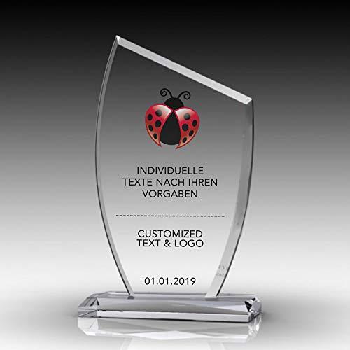 Nurdanil Trofeo de Vidrio con su Texto Personal Grabado Individualmente, Logotipo o Imagen, Copa de Regalo, Regalo a Juego, NUR-4456