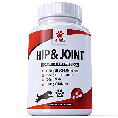 Glucosamine 800mg Advanced Dog Hip and Joint Support Supplements - With Chondroitin MSM & Vitamin C - Canine 120 Chewable Beef Flavoured Tablets • Furever Friendz
