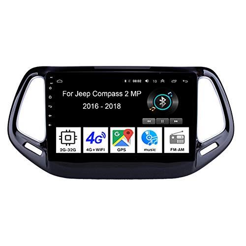 Android Autoradio 9 Pulgadas Coche Radio Coche Pantalla Tactil para Jeep Compass 2 MP 2016-2018 4 Cores 2G+32G para De Coche Conecta Y Reproduce Autoradio Mit Bluetooth Freisprecheinrichtung