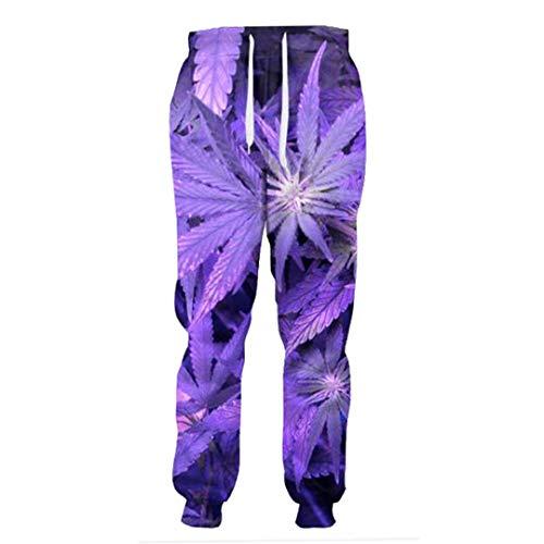 FR-pants-personality Purple Weed Leaf Joggers Femmes Hommes Toute la Longueur Pantalon Pantalon 3D Unisexe Décontracté Pantalons de survêtement Vêtements XL