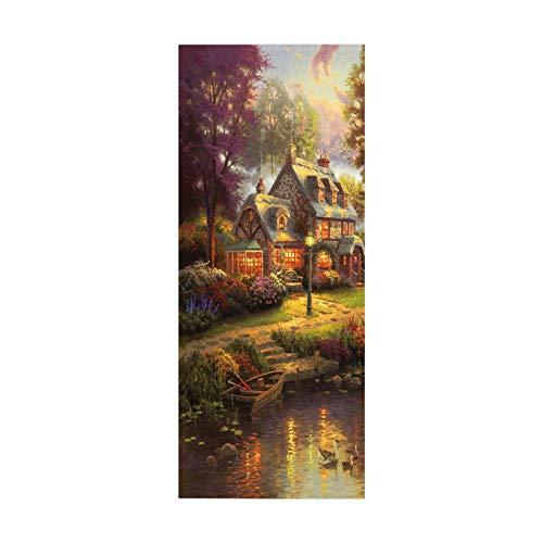 tianhao Cartel de Pasta de Arte de Pintura al óleo de cabaña de Riverside para decoración de Dormitorio Moda DIY Pegatina de Puerta 77 * 200 cm