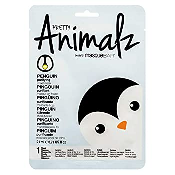 masque BAR Pretty Animalz Penguin Facial Sheet Mask  1 Pack  — Korean Beauty Skin Care Treatment — Purifies Combats Redness Brightens Skin Cell Renewal — Spa Fun Face Mask Sheets Animal Characters