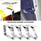 com-four® 8X Tischtuchklammern aus Edelstahl, Tischdeckenbeschwerer, Tischdeckenhalter - 3