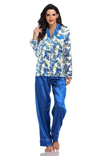 SHEKINI Pijamas Mujer Sedoso Manga Larga con Botones Conjuntos de Pijamas Top Floral Impresión y Pantalón