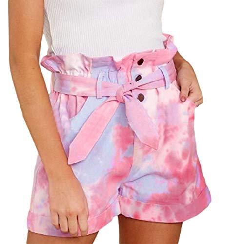 Pantalones Cortos de Mujer Verano Tendencia Suelta Personalidad Impreso Pantalones Cortos de Cintura Media Moda Pantalones Cortos Casuales Delgados 5XL