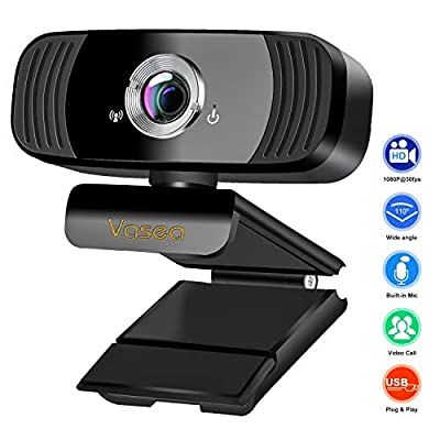 1080P USB Webcam with Microphone, Full HD Webcam for Laptop and Desktop - Video Calling and Recording PC Webcam for Streaming, 360 Degree Rotatable