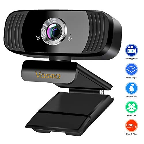 Tasu Webcam,HD Webcam mit 360 Grad drehbar, Plug & Play für Desktop PC,Laptop,ideal für Konferenzen, Live Übertragungen, Gaming PC und Videoanruf,schwarz