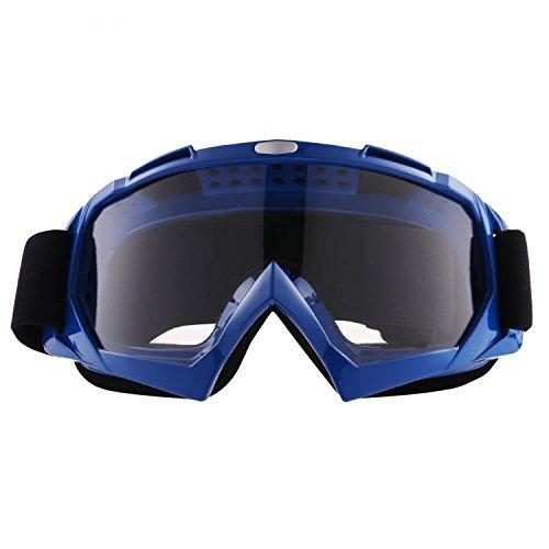 Sijueam Lunettes de Protection de Yeux Visage Masque pour sport de plein air Anti-UV coupe-vent Anti-sable Anti-poussière pour Activités Extérieures vélo Moto Cross VTT Ski Snowboard Cyclisme Goggles - Cadre Bleu, lentille claire