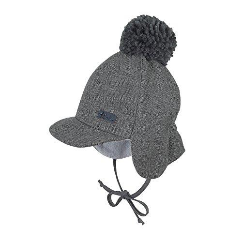 Sterntaler Schirmmütze für Jungen mit Bommel und Bindebändern, Alter: ab 9-12 Monate, Größe: 47, Grau (Eisengrau)