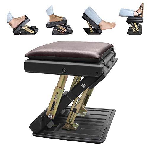 Ergonomic Footrest, Upgrade Adjustable Footrest Max-Load 180Lbs with Removable Soft Foot Rest Pad Under Desk Footrest for Car, Home, Train, 4-Level Height Adjustment (Brown)
