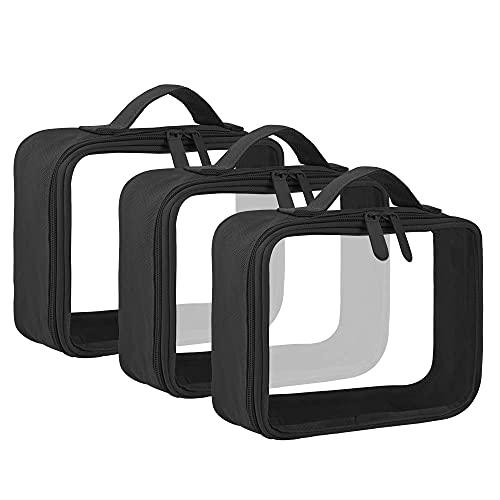 Bolsa de almacenamiento de cosméticos con mango de inodoro, transparente, 3 unidades, color negro