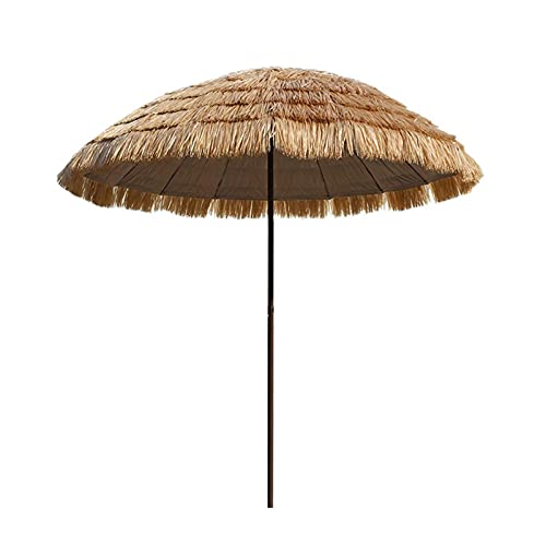 Sombrilla de Playa Hawaiana de 200cm/6,6 ', Sombrilla de Jardín Redonda, Sombrilla Impermeable Al Aire Libre, Sombrilla de Playa Inclinable, Restaurante, Albergue, Parque