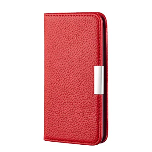 AChris Funda Samsung Galaxy A40 PU Cuero Flip Fold Cover Case con Soporte/Tarjeta Ranuras Magnética Cartera Carcasa Anti-Arañazos Billetera Funda de Cuero para Samsung A40, Rojo