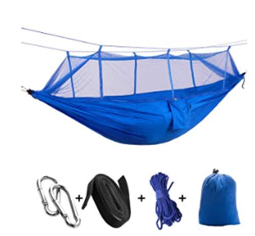Hamac de Camping/Jardin avec moustiquaire Mobilier d'extérieur 1-2 Personne Portable lit Suspendu Force Parachute Tissu Sommeil Swing Bleu