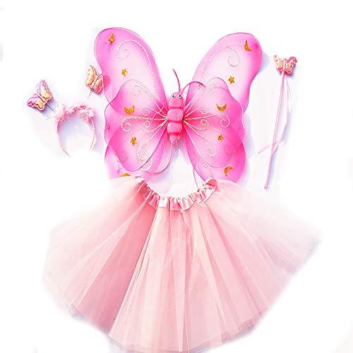Tante Tina Schmetterling Kostüm Mädchen - 4-teiliges Mädchen Kostüm Schmetterling mit Tüllrock , Flügel , Zauberstab und Haarreif - Rosa - geeignet für Kinder von 2 bis 8 Jahren