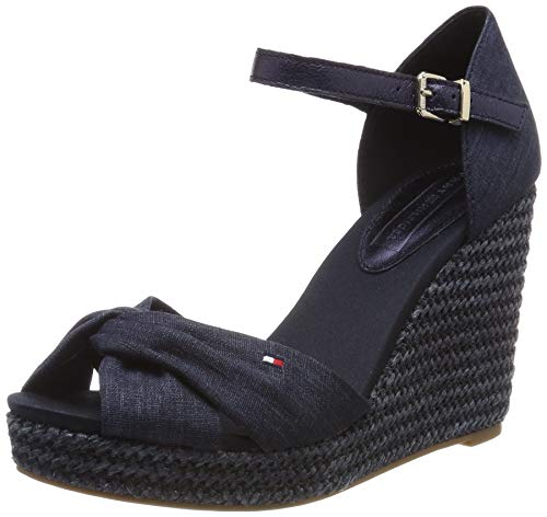 Tommy Hilfiger Damen ICONIC ELENA METALLIC CANVAS Plateausandalen, Blau (Midnight 403), 38 EU