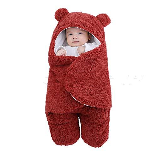 Saco de Dormir para bebé, Forro Polar Ultra Suave y Esponjoso, Manta de recepción para recién Nacidos, Ropa para bebés, niños, niñas, Envoltura para Dormir, Envoltura para bebés (Rojo Vino; 6M) BCVBF